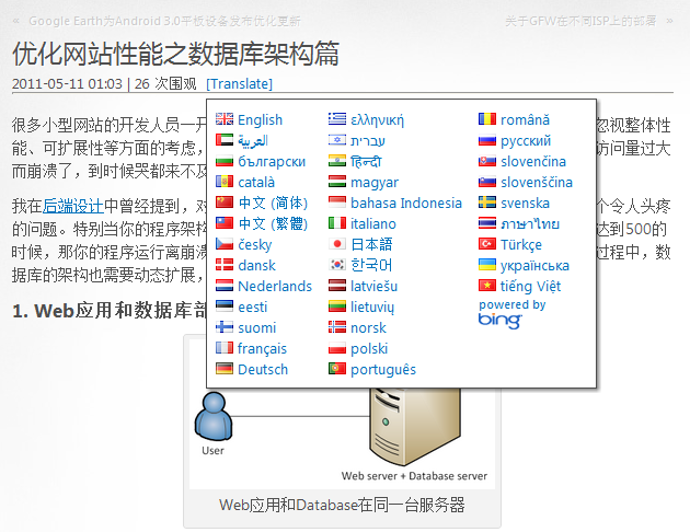 Translate popup with language flag icons and text